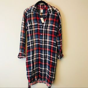 Gap Womens Shirt Dress Small Red Blue Plaid